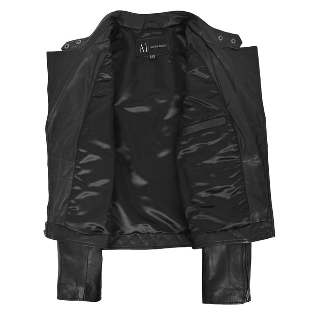 Trendy Black Leather Biker Jacket For Women Quilted Fitted Band Collar Penny Lining