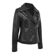 Womens Genuine Leather Biker Jacket Designer Fitted Coat Myla Black Front 2