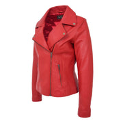 Womens Genuine Leather Biker Jacket Designer Fitted Coat Myla Red Front 2