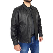Gents Classic Blouson Leather Jacket Albert Black Open 3