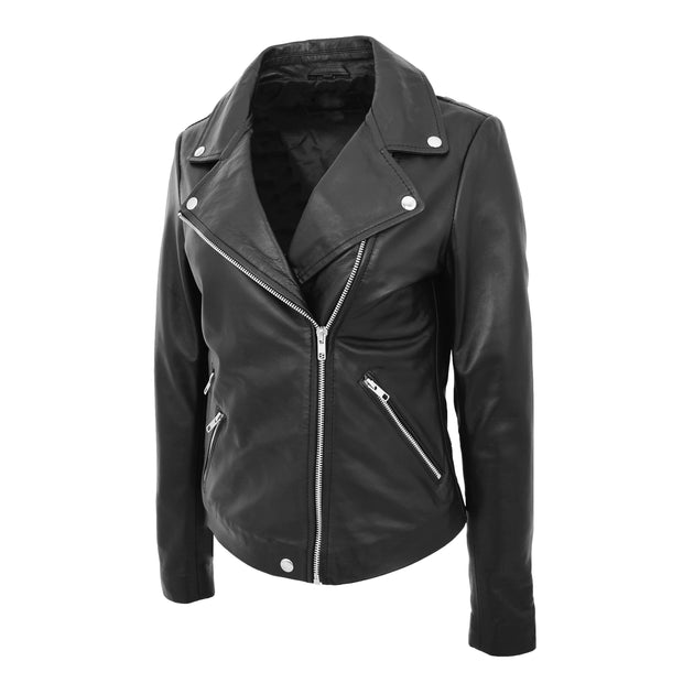 Ladies Real Leather Jacket High Quality Zip Fasten Fitted Biker Style Sadie Black Front 4