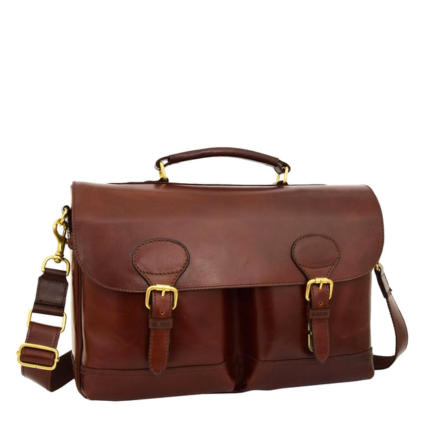 Luxurious Leather Briefcase Classy Business Laptop Bag Buddy Brown Front 1