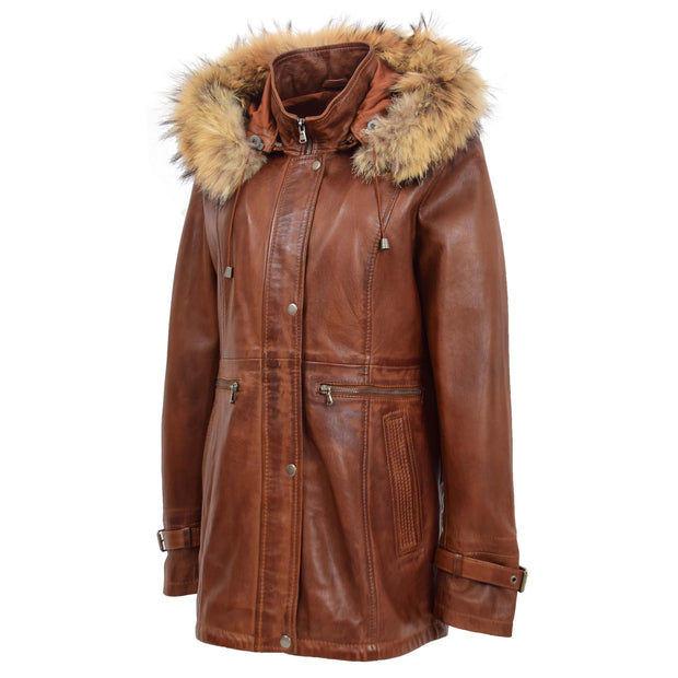 Ladies Genuine Cognac Leather Duffle Coat Removable Hood Parka Jacket Patty Front 2