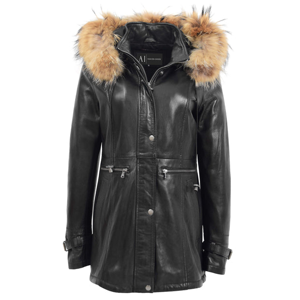 Ladies Genuine Black Leather Duffle Coat Removable Hood Parka Jacket Patty Without Hood Front 3