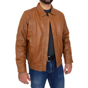 Gents Classic Blouson Leather Jacket Albert Tan Open 2