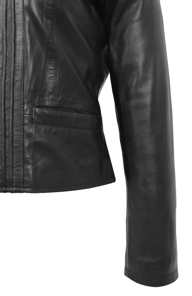 Womens Soft Black Leather Biker Jacket Stand-Up Band Collar Bliss 6