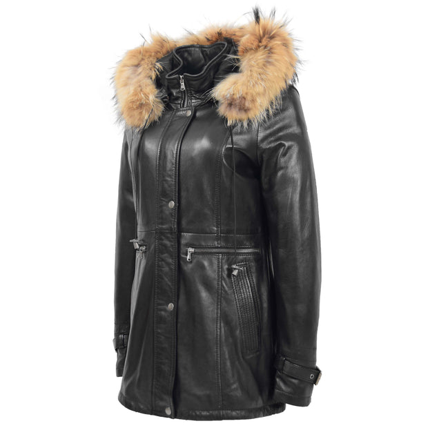 Ladies Genuine Black Leather Duffle Coat Removable Hood Parka Jacket Patty Front 2