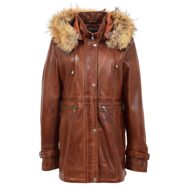 Ladies Genuine Cognac Leather Duffle Coat Removable Hood Parka Jacket Patty Front 3