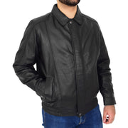 Gents Classic Blouson Leather Jacket Albert Black Front 2
