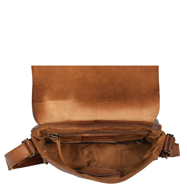 Real Leather Cross Body Messenger Bag Truman Rust Brown Open