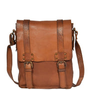 Real Leather Cross Body Messenger Bag Truman Rust Brown Front