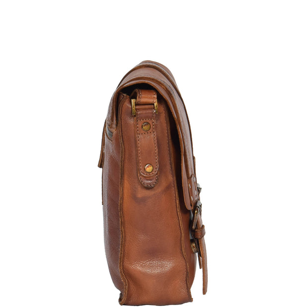Real Leather Cross Body Messenger Bag Truman Rust Brown Side