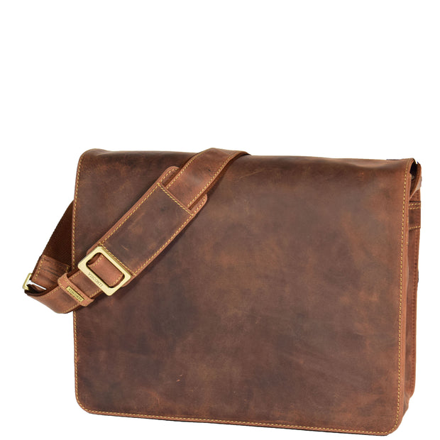 Mens Messenger TAN Vintage Leather Laptop Office Bag A48