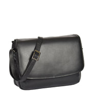 Ladies BLACK Leather Shoulder Bag Flap Over Handbag A190