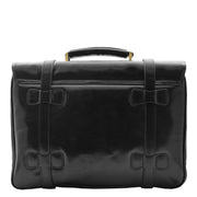 Mens Black Leather Briefcase Classic Vintage Style Office Bag - Matteo2