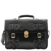Mens Black Leather Briefcase Classic Vintage Style Office Bag - Matteo