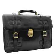 Mens Black Leather Briefcase Classic Vintage Style Office Bag - Matteo5