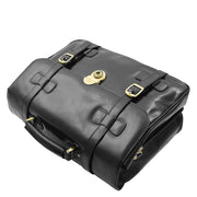Mens Black Leather Briefcase Classic Vintage Style Office Bag - Matteo6