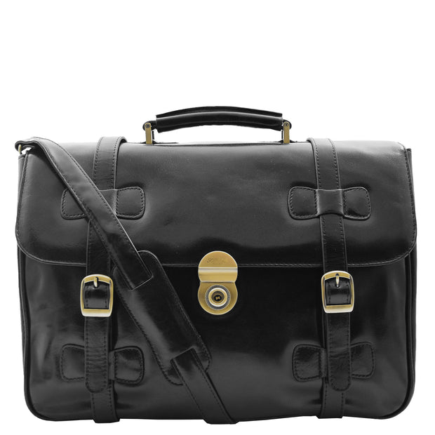 Mens Black Leather Briefcase Classic Vintage Style Office Bag - Matteo 7