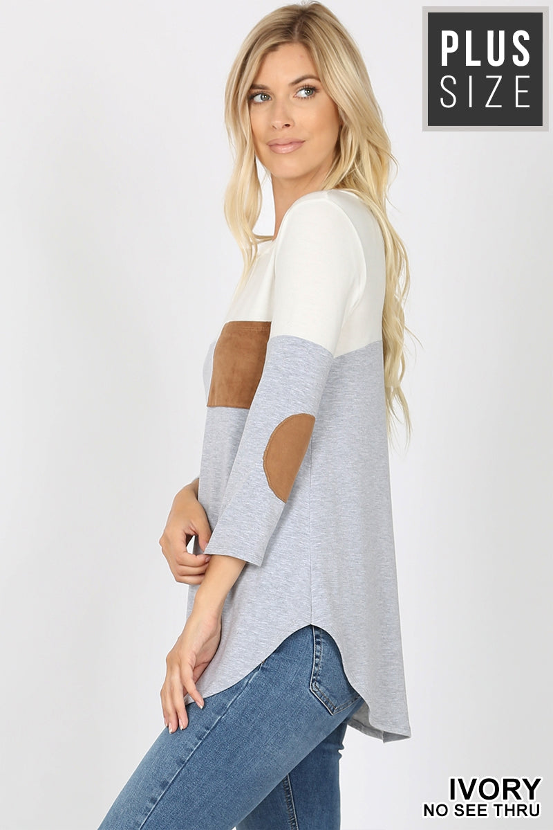 Ivory & Grey Color Block Top with Elbow Patches