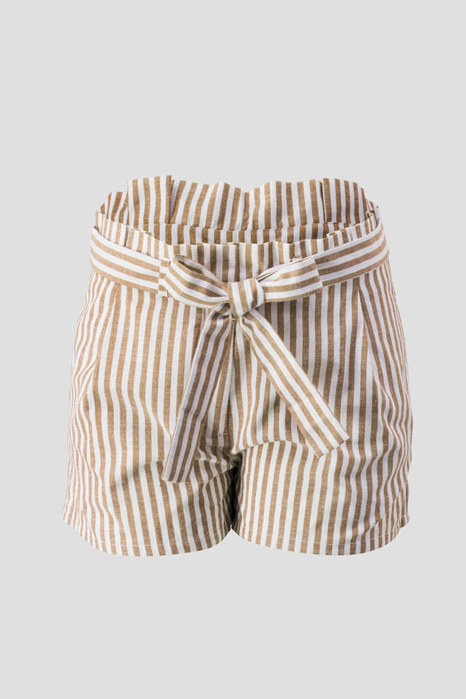 Taupe Linen Stripe Shorts