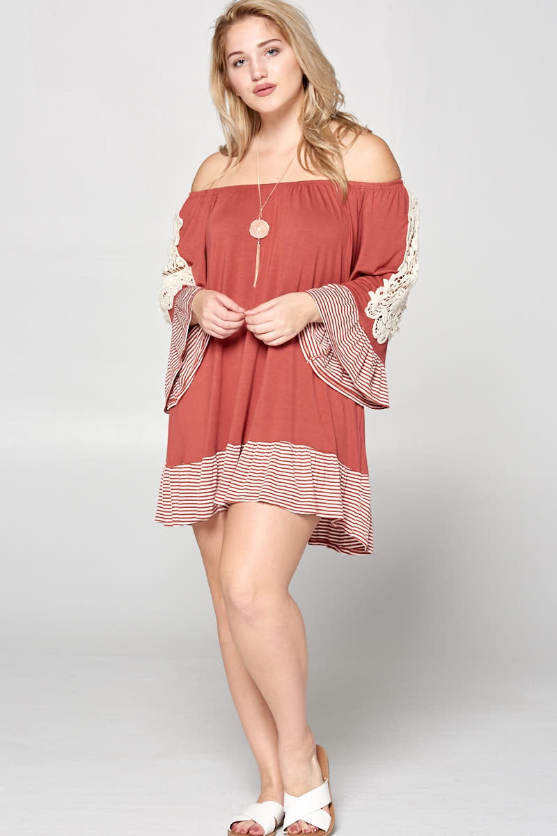 Off Shoulder Crochet Sleeve Dress Plus