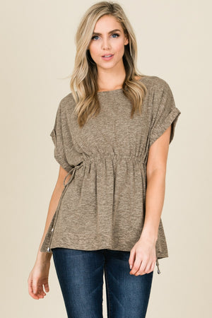 Cap Sleeve Tunic with Smocked Waist