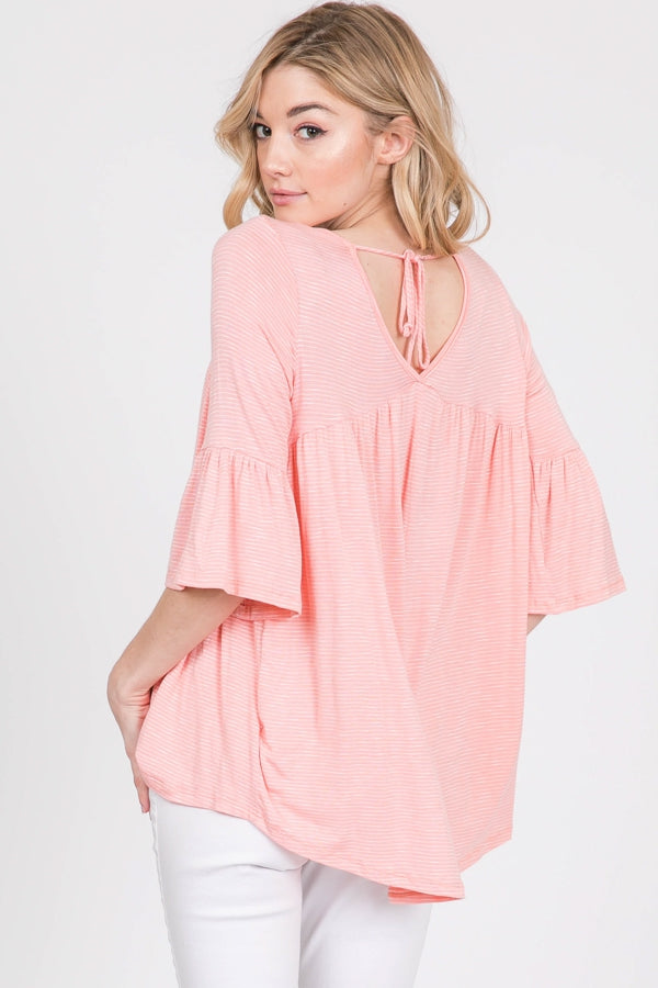 Blush Striped Bell Sleeve Top