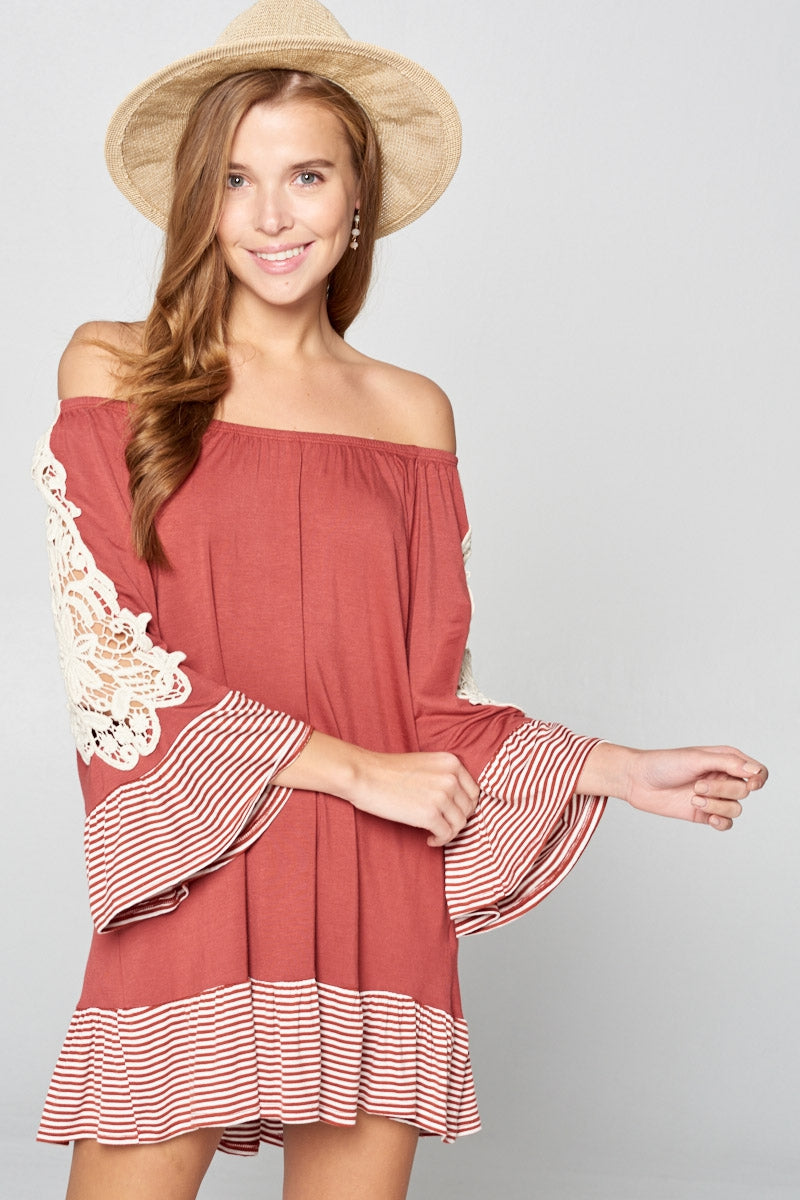 Off Shoulder Crochet Sleeve Dress