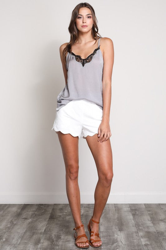 Ivory Scallop Edge Shorts