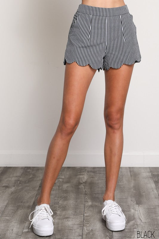 Black Scallop Edge Shorts