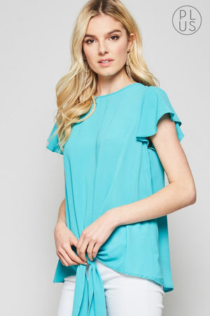 Flutter Sleeve Blouse Plus