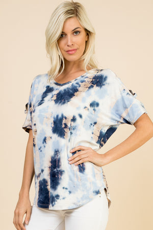 Tie Dye Tunic with Shoulder Detail