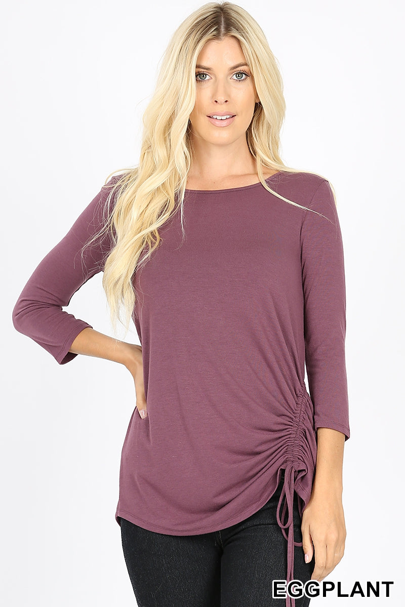 Eggplant Side Cinch Top