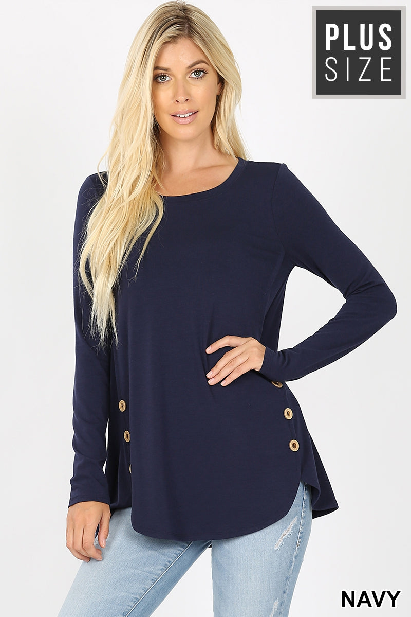 Navy Dolphin Hem Top w/ Wood Buttons