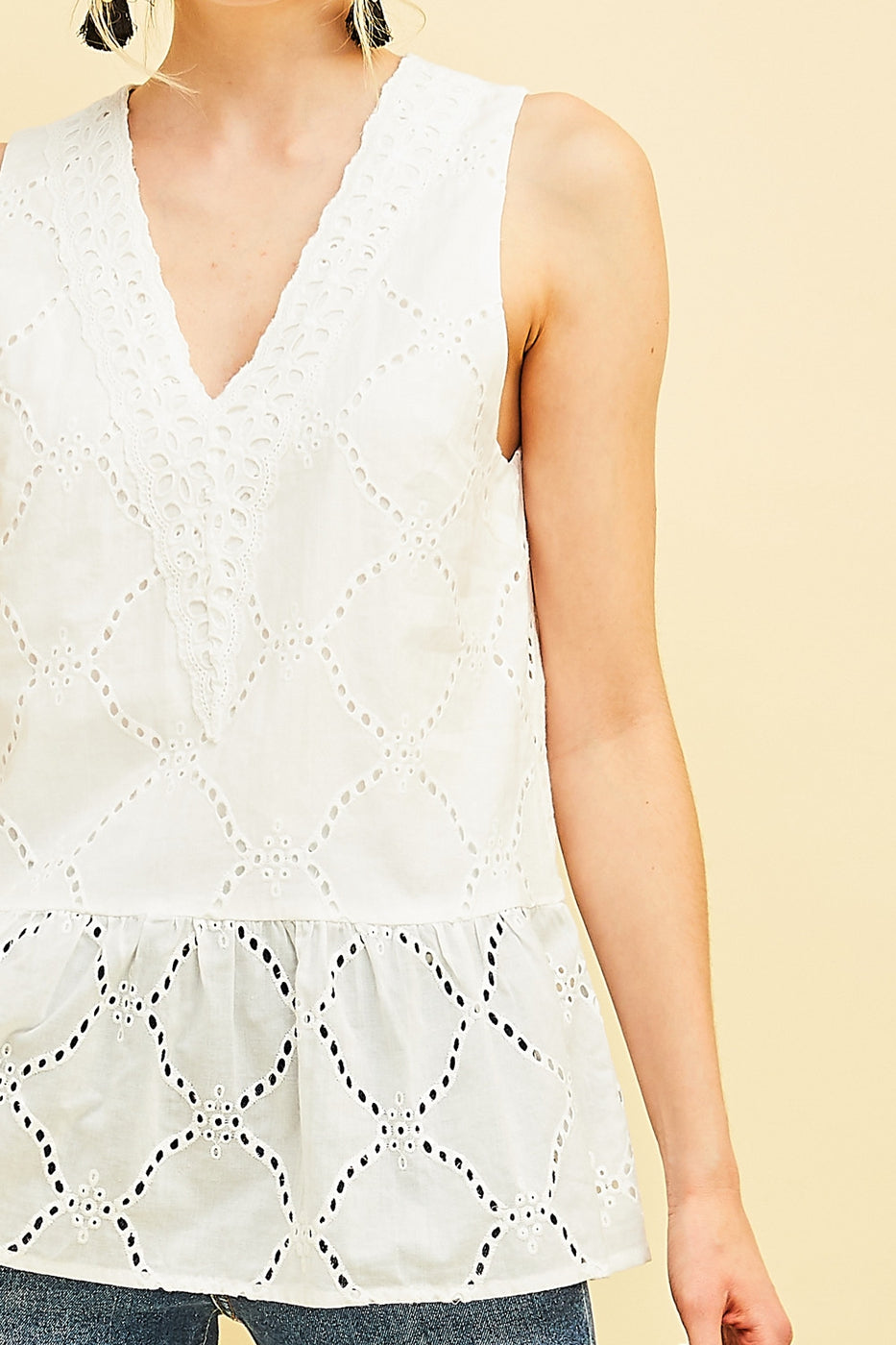 Eyelet Lace Peplum Top