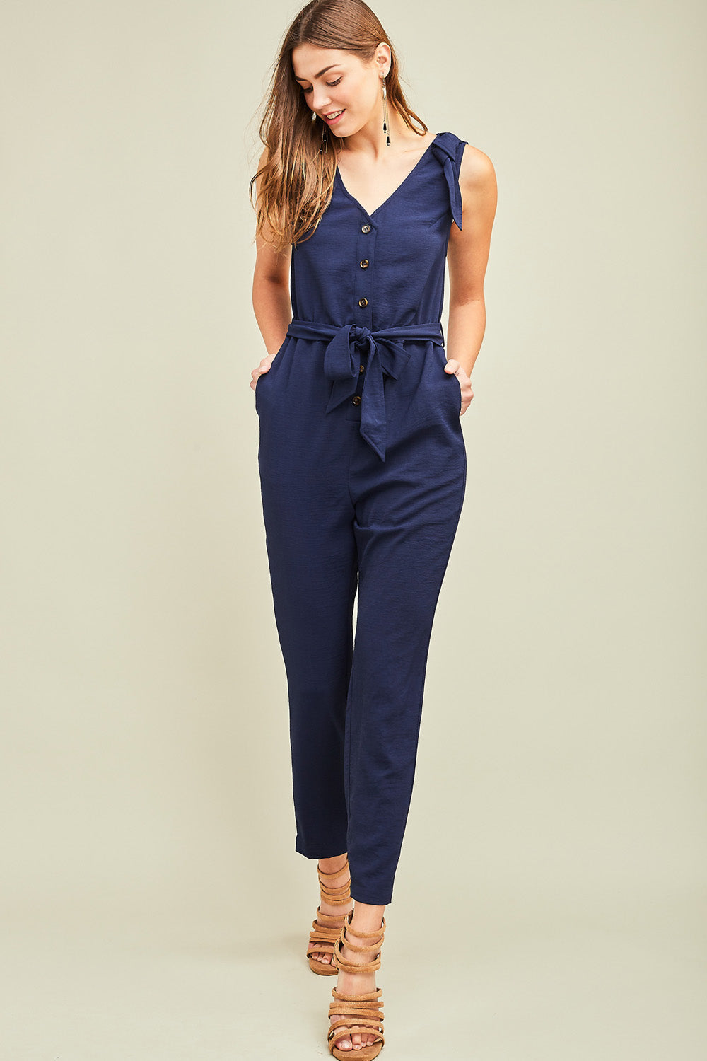 Navy Button-Up Jumpsuit