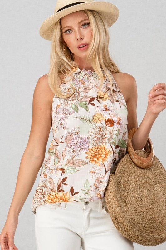 Floral Print Ruffle Neck Top