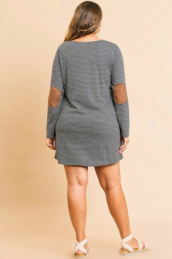 Striped Long Sleeve Dress w/ Buttons & Elbow Patches