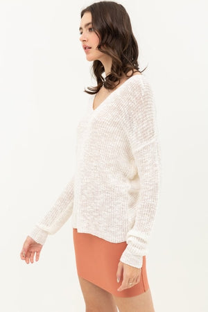 Ivory Open Back Scoop Neck Knit Top