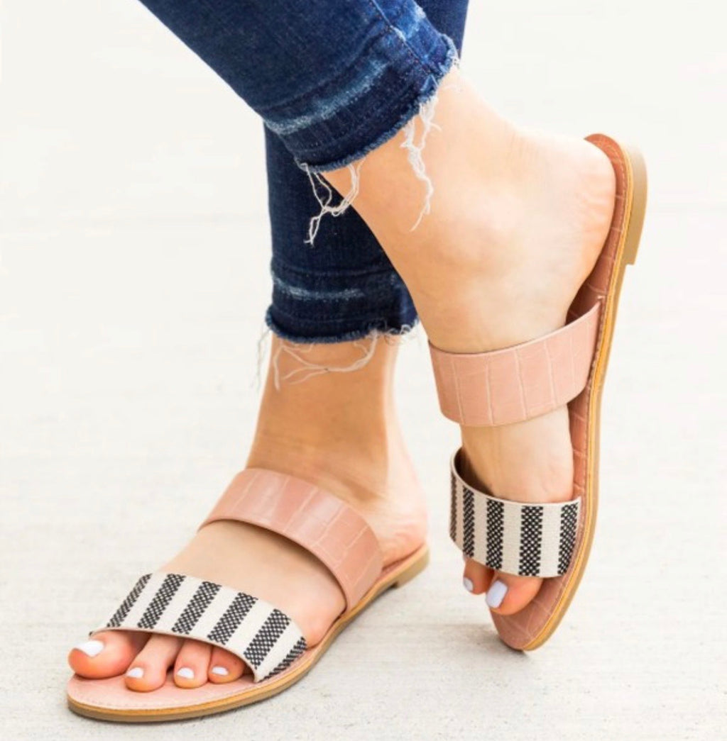 Beige & Black Knit Sandal