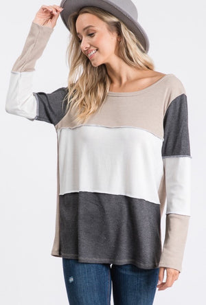 Taupe & Charcoal Color Block Thermal