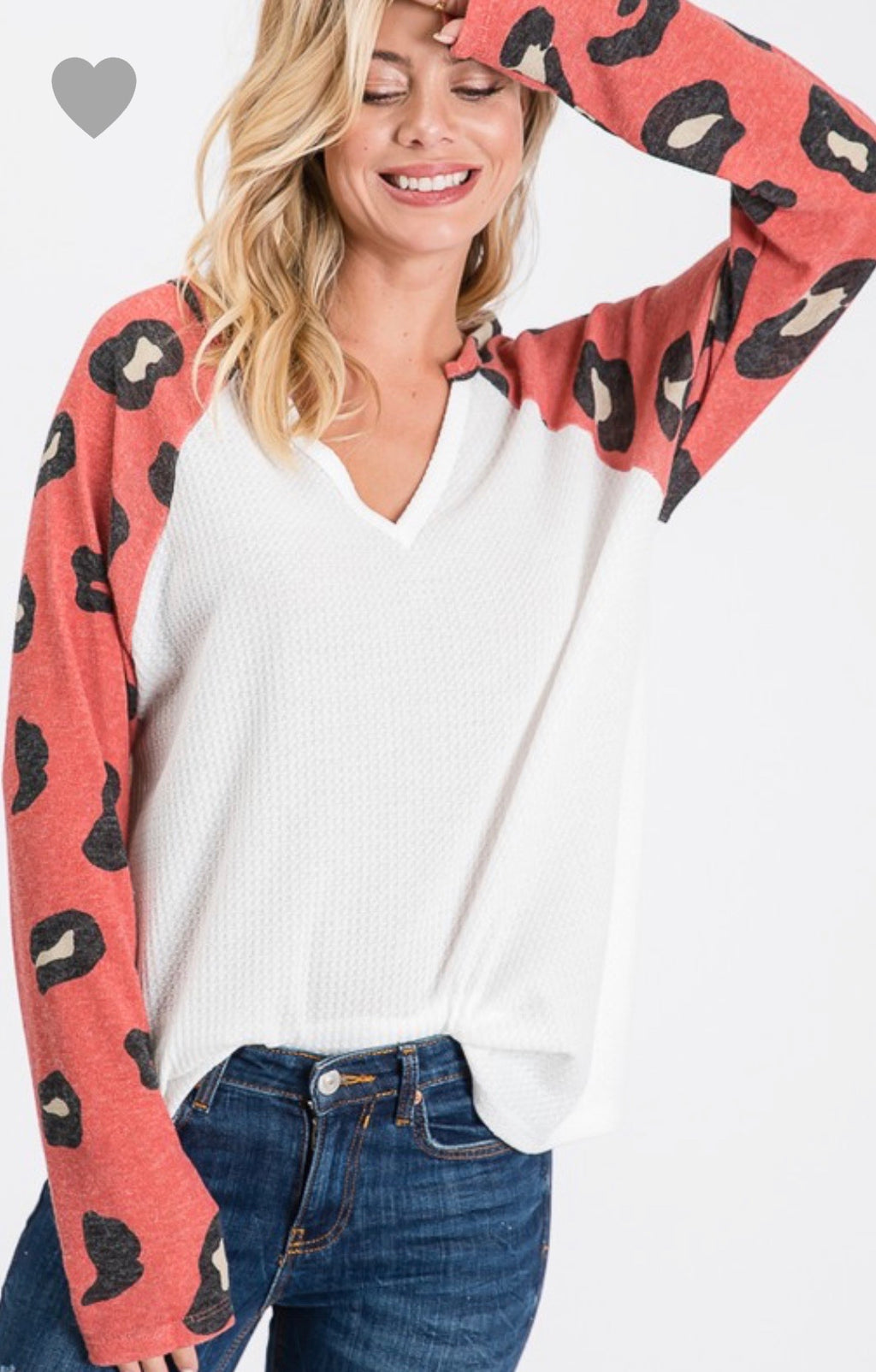 V-Neck Waffle Knit w/ Coral Animal Print Sleeve