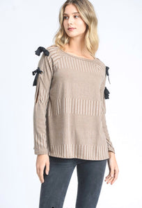 Taupe Long Sleeved Top w/ Bow Details