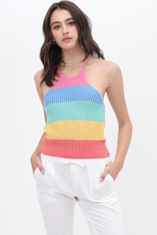 Knit Halter Color Block Tank