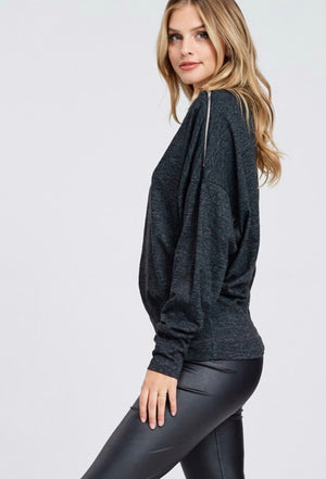 Boat Neck Dolman Sleeve w/ Zipper Shoulder Detail
