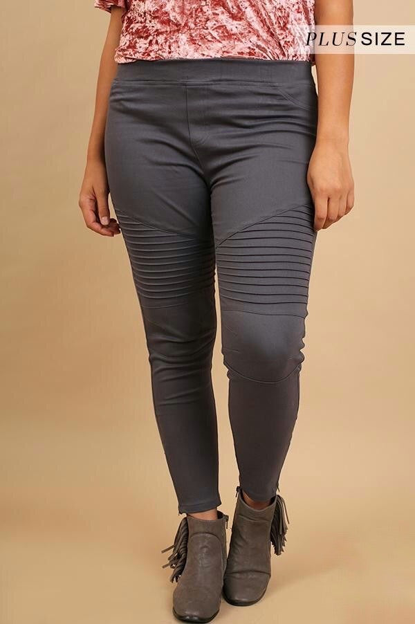 Charcoal Moto Washed Jeggings w/ Pintuck & Zipper Detail