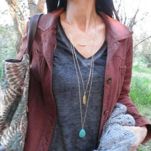 3 Layer Feather & Turquoise Necklace