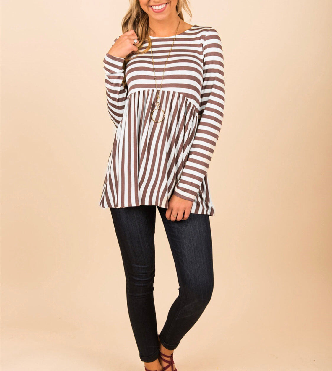 Scoop Neckline Brown Striped Top