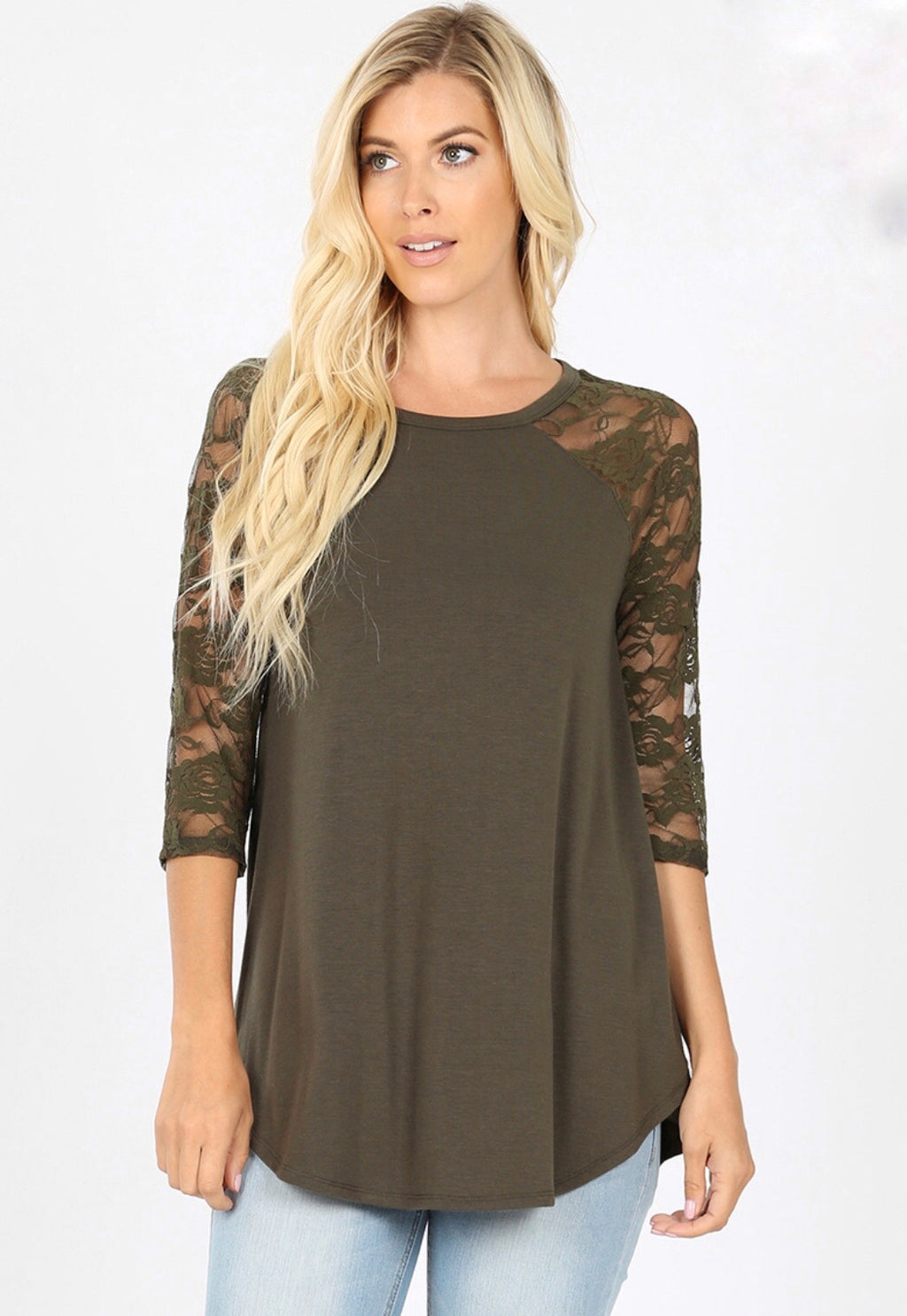Dark Olive Lace Half Sleeve Top